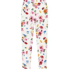 Dolce & Gabbana Floral-print stretch cotton-poplin pants ($325) ❤ liked on Polyvore featuring pants, bottoms, trousers, jeans, white pants, poplin pants, multi colored pants, white floral pants and floral-print pants