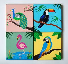 For this listing you will receive these 4 gorgeous tropical bird artworks, all of which are my original acrylic canvas paintings of a Toucan, Blue
