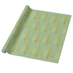 Golden Christmas Tree Light Green Wrapping Paper - paper gifts presents gift idea customize
