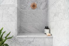 @renovationhusbands set out to create a main bathroom that was large, elegant, and most importantly, intentional. No surprise - the final space goes above and beyond!  Tiles featured: Firenze Carrara 8x20in., Firenze Carrara 12x24in., + Firenze Carrara Barnes. Marble Showers, Bathroom Tile Designs, Bathroom Ideas, Closet Lighting, The Tile Shop, Upstairs Bathrooms, Master Bathroom, Painting Trim, Empty Room