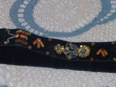 Sequin ,Bead and Velvet Black  Belt by Daysgonebytreasures on Etsy
