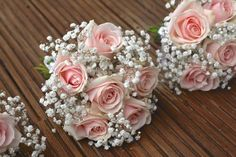 Bridesmaids' Bouquets: vintage pale pink roses, bridesmaid flowers, babies breath, gypsophila, pale pink flowers