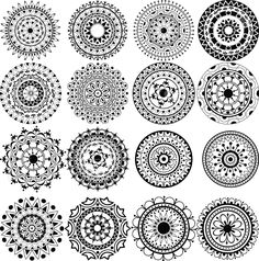 I've always been fascinated by mandalas. A set of beautiful mandalas and lace circles Stock Photo - 16281009 Dotwork Tattoo Mandala, Tattoo Henna, Lace Tattoo, Tattoo Set, Small Mandala Tattoo, Dragonfly Tattoo, Lotus Tattoo, Tattoo Small, Mandalas Painting