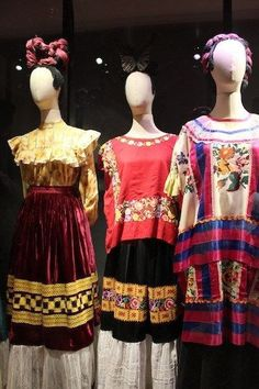 the Frida Kahlo Dress Collection on display in Mexico City Diego Rivera Frida Kahlo, Frida And Diego, Frida Kahlo Exhibit, Mexican Fashion, Historical Clothing, Couture, Dress Collection, Dresser, Fashion Design