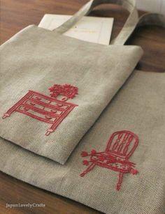 Bordado. Que lindo! A ideia pode ser usada para sacolas com várias atividades.