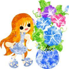 暑中見舞いにも使える夏のフリーのイラスト素材可愛い女の子とアサガオの植木鉢  Free Illustration of summer A cute girl and a flower pot of morning glory   http://ift.tt/28Iv7Ph