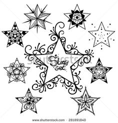 Vector Black and White Tattoo Stars Set