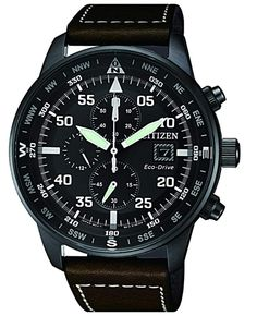 Citizen Eco-Drive Mens Chronograph Brown Leather Strap Watch - Citizen Watch - Ideas of Citizen Watch Best Mens Luxury Watches, Mens Watches For Sale, Stylish Watches, Citizen Eco, Swatch, Seiko Solar, Amazing Watches, Watch Sale, Men Watches