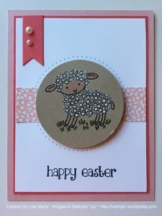 Like the format, could put anything in the circle. Easter Lamb Card - Stampin Up - SU - Easter Lamb - Spring Holiday Cards, Christmas Cards, Sheep Cards, Stampin Up Karten, Easter Lamb, Stamping Up Cards, Halloween Cards, Scrapbook Cards, Homemade Cards