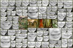 """All school project of kid's school pics converted into black and white as a close up of their smiles.  The word """"SMILE"""" was taken from nature items in the woods by the school."""