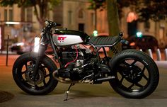 """Blitz Motorcycles """"La Parisienne"""". Based on a BMW R100 T01 1984 this bike has been completely revised and improved by experts Fred and Hugo both master works Blitz care. The tank from a Yamaha XT500 and it was mounted in the state without any modification aesthetics."""