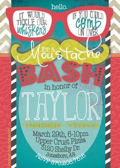 Digital Birthday Invitation Mustache Themed by southernbellavita, $18.00