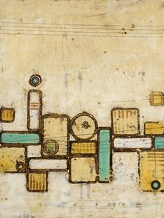 "Pam Nichols | Nestled | encaustic with ferric oxide, found metal and paper on wood panel, 32""x24"" /sm"