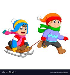 A boy is running to pulling the girl on the cart vector image on VectorStock Crochet Towel, Winter Activities For Kids, Kids Education, Cute Kids, Smurfs, Little Girls, Christmas Crafts, Carson Dellosa, Clip Art