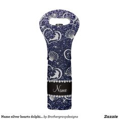 Name silver hearts dolphins navy blue glitter wine bag