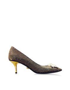 2dd804379ff5 Versace Black Golden Stud Palazzo Low-heel Pump  1