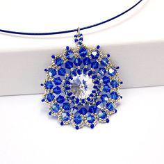 Collana con Ciondolo Swarovski Crystal Rivoli (14 mm) in vetro di cristallo blu collana di perle d