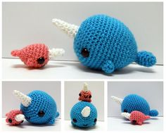 """""""Big Narwhal and Baby Narwhal - Crocheted Plushies"""" by syppah.deviantart.com #Narwhals"""