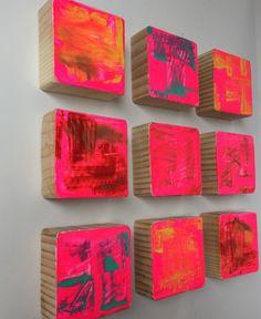 Original bemalte Holzblock Wand Kunst abstrakte Malerei