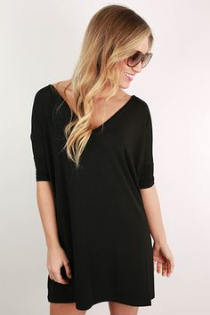 PIKO Short Sleeve V-Neck Tunic in Black