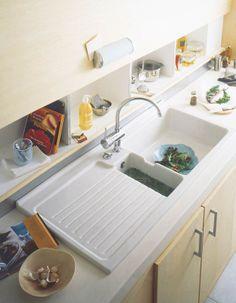 Rangement derrière l'évier  Évier de cuisine à encastrer céramique 1 bac égouttoir   Espace Aubade