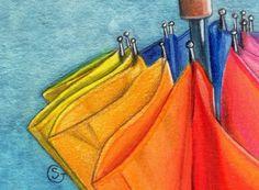 Umbrella TW ACEO Apr Rainbow Watercolor Original ART Sherry Goeben  #Realism