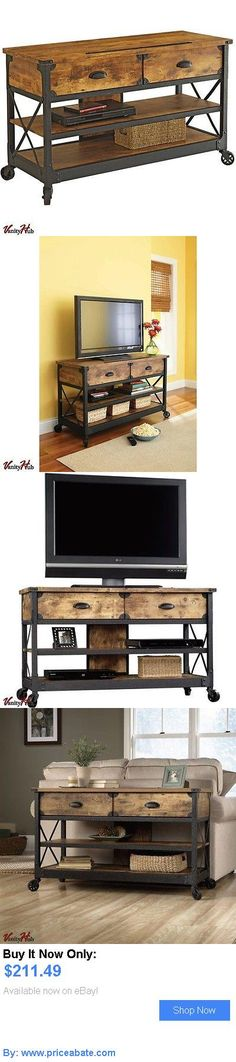 Entertainment Units, TV Stands: Rustic Tv Stand For Tvs Up To 52 Antiqued Side Table Storage With Two Drawers BUY IT NOW ONLY: $211.49 #priceabateEntertainmentUnitsTVStands OR #priceabate
