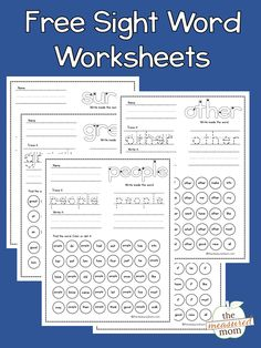 Check out these free sight word worksheets! They're based on the Dolch sight words and are great for early readers in kindergarten and first grade. You can get worksheets for the preprimer, primer, and first grade list. #sightwords #teachingreading #dolch #preprimer #kindergarten #firstgrade