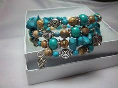 Turquoise, Jasper, Silver, Bracelet, Memory Wire, Wrap Bracelet, Southwestern Look, Fits All Wrists