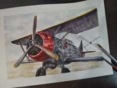 Watercolour illustration airplane drawing Watercolour Illustration, Watercolor, Airplane Drawing, Paper Crafts, Diy Crafts, Diy Tutorial, Line Art, My Arts, Tutorials