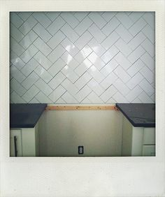 Would It Be Too Busy To Do Our Subway Tiles Like This In The Bathroom?