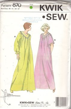 01fe8a3e12 Kwik Sew 870 Lovely Ladies Nightgown Pattern Yoked Lace Trim V Neck Adult  Teen Womens Vintage Sewing Pattern Size Bust 48 51 54 57 UNCUT