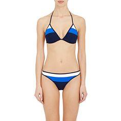 Tory Sport Women's Colorblocked Triangle Bikini Top ($85) ❤ liked on Polyvore featuring swimwear, bikinis, bikini tops, multi, tankini swim tops, triangle bikini top, color block bikini top, swimming bikini and swim wear