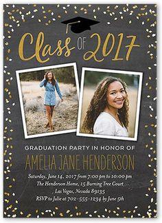 Graduation Invitations: Chalked Confetti Class,  Invitation, Square Corners, Grey