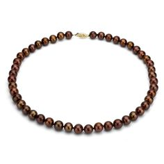 DaVonna 14k 7-7.5mm Chocolate Freshwater Cultured Pearl Strand Necklace