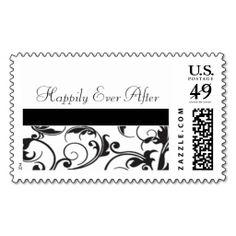 Black and White Damask Wedding Invitation Postage Stamp