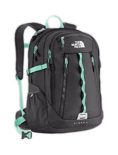 The North Face Equipment Daypacks WOMEN'S SURGE II BACKPACK in GRAPHITE GREY / BEACH GLASS GREEN