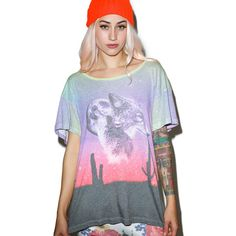 Wildfox Couture Lone Wolf Unisex Tee ($98) ❤ liked on Polyvore featuring tops, t-shirts, oversized t shirt, graphic t shirts, oversized tee, round neck t shirt and star tee