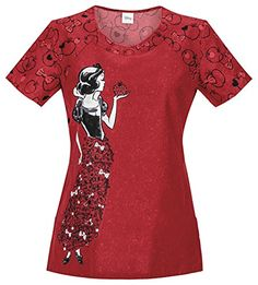 """Cherokee Disney Tooniforms Round Neck Top in """"Fairest Of Them All"""" from Cherokee Scrubs at Alegria Cherokee Store Healthcare Uniforms, Medical Uniforms, Nursing Uniforms, Cherokee Uniforms, Cherokee Scrubs, Cute Scrubs Uniform, Nursing Pictures, Uniform Advantage, Medical Scrubs"""