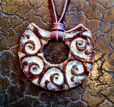 Sexy Bohemian Gypsy Buckskin Leather Ceramic Pendant Necklace by California Soulshine Designs