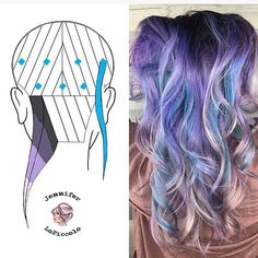 Here's my new head sheet (sorry about the repost, had to fix some stuff). This is the basic foundation on the end color on the right. Each strand was a little different. Some I left her faded previous color (the pink), and some I took the lavender all the way down. I used 3 shades of purple. The dark at the base is her natural. The blue was kept separate from the slices of purple to create the pops of color. I'd love to see people recreate this! Tag me if you do!  #behindthechair