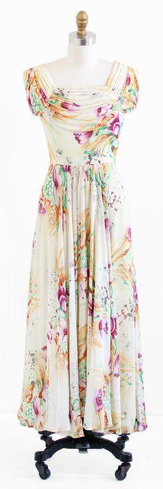 vintage 1940s art deco floral evening gown | http://www.rococovintage.com
