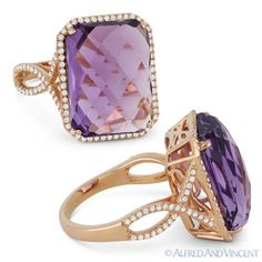 The featured ring is cast in 14k rose gold and showcases a checkerboard cushion cut purple amethyst gemstone accentuated by round cut diamonds along the rectangle halo & halfway along the bypassing splitshank band.