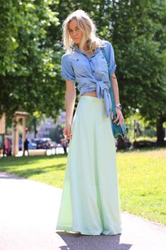 Chambray button up & sea green maxi skirt