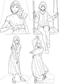 Pose (top right) Drawing Base, Manga Drawing, Drawing Sketches, Art Drawings, Female Drawing, Figure Drawing Reference, Drawing Reference Poses, Body Reference, Manga Poses