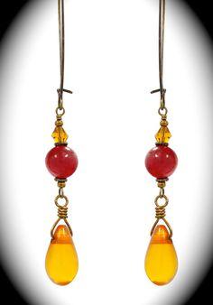 Red beaded earrings w/amber teardrops