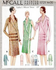 McCall 5721 1920s dress vintage sewing pattern reproduction