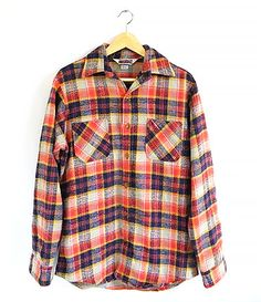 Big Mac Flannel - 70s /80s - Vintage Plaid - Soft Blanket Texture - Red Blue Grey Yellow - Vintage Flannel Work Shirt - Mens - Size S / M by ImprovGoods on Etsy