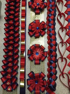 Looped ribbons, flowers and military braid. Homecoming mum