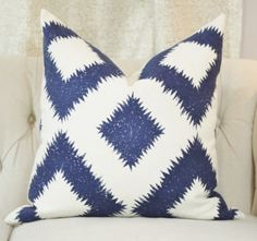 Schumacher Mary McDonald Blue  Geometric Diamond Pillow Cover by Motif Pillows